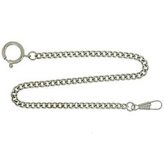 """Pocket Watch Chain Fob Curb Link Design Silver-Tone 14"""" - Brought to you by Avarsha.com"""