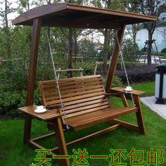 Personnalisés haut de gamme extérieure bois swing swing solide bois chaise maison balcon carbonisé bois jardin fauteuil à bascule double