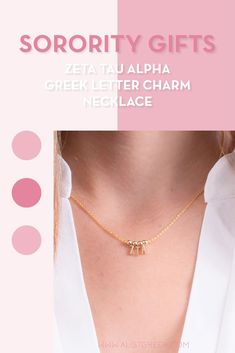 Sorority charm necklaces are the easiest gift for any celebration: Recruitment, Bid Day, Back to School & Big/Little. Spoil your new sorority girl with our simple and dainty Greek letter charm necklace! Zeta Tau Alpha Gifts | Zeta Tau Alpha Bid Day | ZTA Necklace | Zeta Tau Alpha Jewelry | Sorority Bid Day & Recruitment | Sorority Jewelry Gifts | Sorority College Gift | Sorority New Member Gift Ideas | Dainty Jewelry | Simple Gold Charm Necklace #SororityGifts #SororityJewelry