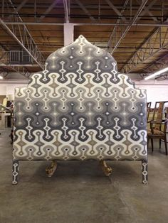 Creative Tonic loves Custom Moroccan-style Upholstered Headboard by Again & Again Custom Headboard, White Headboard, Bookcase Headboard, Headboard Designs, Headboards For Beds, Upholstered Headboards, Headboard Ideas, Headboard Shapes, Boho Chic Bedroom