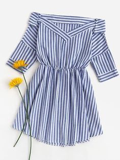 Shop Foldover V Neckline Striped Dress at ROMWE, discover more fashion styles online. Girls Fashion Clothes, Teen Fashion Outfits, Trendy Outfits, Kids Outfits, Girl Fashion, Fashion Dresses, 80s Fashion, Style Fashion, Fashion Tips