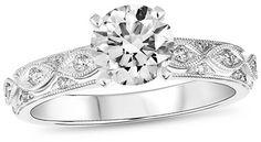5/8 CT. T.W. Diamond Milgrain Infinity Ribbon Engagement Ring in 14K White Gold