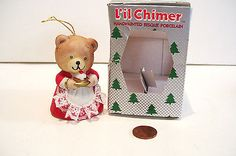 Vintage Christmas Bell Ornament Mama Bear Bisque Porcelain  Jasco Taiwan