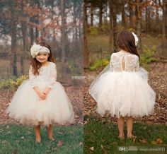 New Ball Gown Boho Country Wedding Flower Girl Dresses Illusion Long Sleeve Tulle Skirts Tea Length 2016 Cheap Baby Kids Communion Dresses Flowers Girl Pageant Tiered Skirts Online with $80.0/Piece on Magicdress2011's Store | DHgate.com