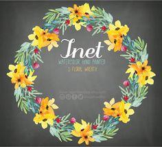 Watercolor Floral clipart, PNG, wedding bouquet, arrangement, bouquet, frames, digital paper, blue flowers, bridal shower, for blog banner