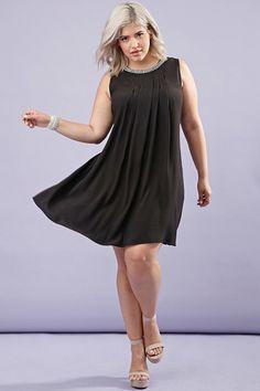 Plus Size Rhinestone Pleated Trapeze Dress - Dresses - 2000180585 - Forever 21 EU English Trendy Plus Size Fashion, Plus Size Womens Clothing, Curvy Fashion, Clothes For Women, Trendy Clothing, Size Clothing, Fashion Beauty, Plus Size Dresses, Plus Size Outfits