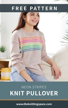 Add a pop of color to your daily fall and winter outfits by making this simple yet vibrant knitted sweater with fun neon stripes. This easy knitting pattern makes for a fantastic handmade gift for friends and family, especially teenagers. | Discover over 5,500 free knitting patterns at theknittingspace.com Knitting For Beginners, Easy Knitting, Knitting Ideas, Winter Knitting Patterns, Handmade Gifts For Friends, Knitted Poncho, Striped Knit, Knit Sweaters, Cardigans