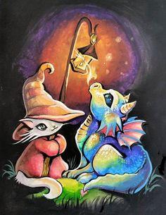 Little Dragon and Wizard Kitty by lantern light - Nico Niemi Fantasy Dragon, Dragon Art, Fantasy Art, Magical Creatures, Fantasy Creatures, Animal Drawings, Art Drawings, Illustration Inspiration, Psy Art