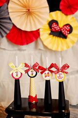 Minnie Mouse Birthday Party Favor, Noisemakers, Horns, Yellow Polka Dot Red Birthday decorations - Boopteylu