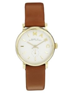 Marc By Marc Jacobs Baker Mini Brown Leather Strap Watch