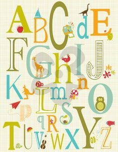 Eclectic Alphabet - Blue, Alphabet & Numbers Art Prints | Oopsy daisy