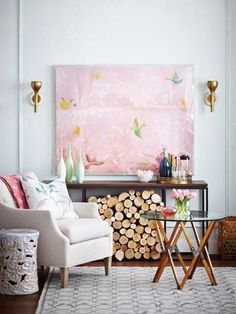 Chinoiserie Chic: #8 - The Top Ten Chinoiserie Trends for 2014 I just love this bird print/wall hanging/ pink and all! Have seen it several times in different photos, and love it every time!