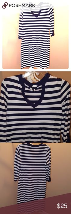 Brooks Brothers striped dress Brooks Brothers blue & white striped v neck 3/4 sleeve dress. Brooks Brothers Dresses