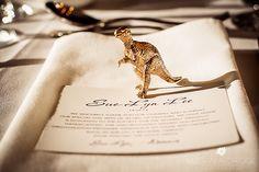 Gorgeous Gold Dinosaur place setting A wedding night at the museum – Melbourne Museum wedding Wedding Night, Wedding Bells, Wedding Reception, Wedding Table, Perfect Wedding, Dream Wedding, Wedding Shit, Wedding Stuff, Dinosaur Wedding