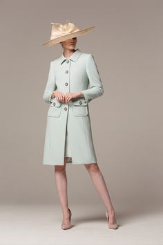 A chic, understated tailored coat with patch pockets and gunmetal dome buttons. Worn with a silk crepe and French lace cocktail dress with sheer sleeve and pencil skirt. Shown here with a Rachel Trevor Morgan hat, and Emmy London shoes. Formal Coat, Knee Length Cocktail Dress, Royal Clothing, Tailored Coat, Elegant Outfit, Occasion Wear, Silk Crepe, Coat Dress, Women's Jackets