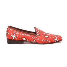 Men's Orange Canvas Moroccan Slipper Del Toro Fine Italian Shoes