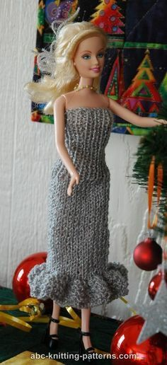 ABC Knitting Patterns - Barbie Doll Evening Dress I made several versions of this basic pattern using fingerling, adjust stiches if not using sport weight, ruffles are made in garder stitches, can make long skirt version or short skirt types, can make sleeveless or dropped shoulders...fun pattern!