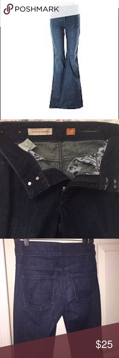 """Pilcro and the Letterpress jeans (Anthropologie) Size 26 - Fit & flare - slim through hip and thigh; dark blue w/ slight fading - mid-rise - 32"""" inseam. Would look cute with a pair of wedge heels and a flowy top, which is what I intended to wear with them. Trying to sell b/c they are a little to snug and long for me. If I'd start running again, that would take care of the snugness :) but still, for me..., I'd have to wear too high of a wedge for them to not drag on the ground. Anthropologie…"""