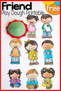 Play dough Friends Printable set for imaginative play with preschoolers - a great tool for talking about friendships with your kids or students Friend Activities, Playdough Activities, Preschool Learning Activities, Preschool Themes, Kindergarten Worksheets, Fun Learning, Teaching Kids, Bible Activities, Preschool Curriculum