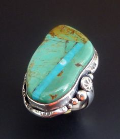 Mosaic Turquoise Ring  Handmade Sterling Silver and by fishsilver, $85.00
