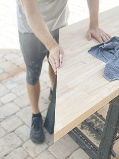 How to: Whitewash butcher block desk Butcher Block Countertops Kitchen, Butcher Block Desk, Butcher Block Cutting Board, Speed Square, Desk Legs, Window Benches, Water Based Stain, Minwax, Whitewash