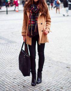 Women's Camel Coat, Black Skinny Jeans, Black Leather Ankle Boots, Black Suede…