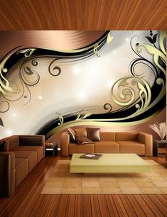 """Availability: on orderResistant, water-rejecting and scratch-proof fleece wallpaper """"Golden glow"""". Wallpaper """"Golden glow"""" with the inspiring motive will be an effective eye-catch for each interior. 3d Wallpaper For Bedroom, 3d Wallpaper For Walls, Small Balcony Decor, Diy Wall Painting, Bedroom False Ceiling Design, Stone Interior, 3d Wall Murals, Beautiful Wall, Home Decor Furniture"""
