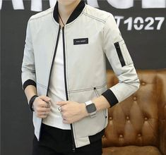 Mens Bomber Jacket with Top Stitching Denim Jacket Men, Bomber Jacket Men, Male T Shirt, Henley Shirts, Swag Outfits, Top Stitching, Outdoor Outfit, Slim Man, Suit Fashion