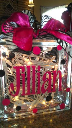 """Personalized Vinyl Lettered Glass Block - Glass Block """"Bank"""" or """"Night Light"""" & your choice of colors in Lettering and Ribbon - Vinyl Crafts, Vinyl Projects, Diy Projects To Try, Crafts To Make, Fun Crafts, Craft Projects, Glass Cube, Glass Boxes, Craft Gifts"""
