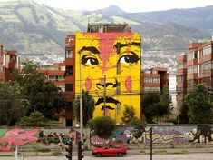 Colombian street artist Stinkfish, has just finished (2015-12-23) a new piece in the city of Quito, Ecuador, for the Detonarte Festival. A massive wall depicting one child face. His familiar style was applied on this building wall on a scale to be seen from very far. (via Isupportstreetart.com)