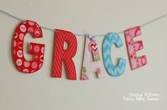 Fabric Name Banner Personalized Name Banner by CheekyStitches, $22.50