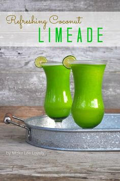 Coconut Limeade: 2-3 medium-large limes (or 5-6 small limes), washed and quartered 1/2 cup sugar 2 cups water (cold preferably) 1 cup coconut milk (regular or light is fine) 1 Tbsp. sweetened condensed milk ice (I use about 6 ice cubes, but this is to preference)