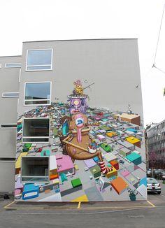 Die heilpädagogische Schule Zürich hat One Truth in Begleitung der Stadt Zürich für ein neues Kunst am Bau Projekt angefragt. One Truth erarbeitet das Thema Playground und übernahm die Konzeption bis zu der Gestaltung vor Ort.Das Kunstwerk an der exponierten Hausfassade an der Gotthelferstrasse.53 in Zürich Wiedikon gibt dem Quartier einen kreativen Charakter
