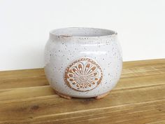 Stoneware Orchid Planter Pot in Glossy White Glaze Rustic