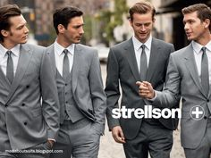 Groomsmen in light gray, groom in darker gray. Very attractive wedding party. Plus I love the style of the suits