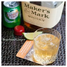 Bourbon Ginger Cocktail  1 oz. bourbon (Maker's Mark)  4 oz. ginger ale  1 lime wedge  ice        Instructions: In a low ball add ice and bourbon, pour ginger ale and squeeze lime wedge.  Serve