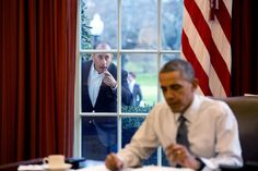 """Dec. 7, 2015 """"Comedian Jerry Seinfeld knocks on the Oval Office window to begin a segment for his series, 'Comedians in Cars Getting Coffee.'"""" (Official White House Photo by Pete Souza)"""