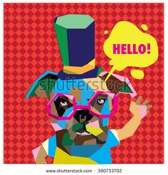 Vector colorful low polygonal pop art dog say hello - stock vector