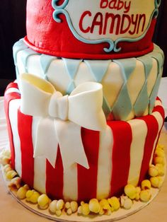Fondant popcorn for a circus baby shower cake