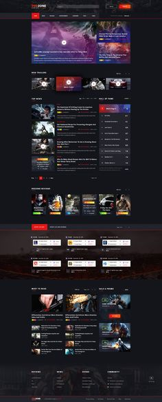 Red Zone - Game PSD Template (Blog, Review, Portal, Community) #console #editorial #game blog • Download ➝ https://themeforest.net/item/red-zone-game-psd-template-blog-review-portal-community/18643234?ref=pxcr