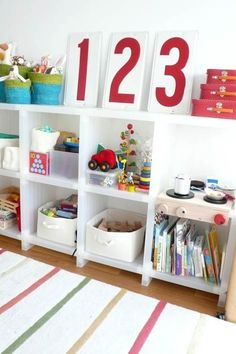 Attractive Storage Leave it up to Tina to make even this simple storage look like a piece of art. See more of this space on Design Sponge Small Room Organization, Organizing Ideas, Playroom Design, Playroom Ideas, Playroom Decor, Toy Rooms, Kids Rooms, Deco Design, Kid Spaces