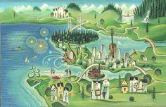 Vancouver Map #illustration by ©Tim Zeltner #i2iart