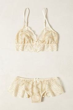 Eberjey Crocheted Eris Bralette, $55, available at Anthropologie; Eberjey Crocheted Eris Panty, $55, available at Anthropologie.