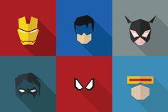 SuperHeroes Masks Flat (Set by LogoCreator on Creative Market Business Illustration, Pencil Illustration, Character Illustration, Graphic Illustration, Illustrations, Watercolor Drawing, Painting & Drawing, Superhero Tshirt, New Bat