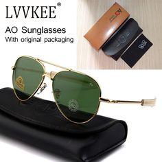 706a4c49f7 Newest US Army MILITARY AO Brand Designer Aviator Sunglasses Glass Lens men Sun  Glasses oculos masculino With original Case logo-in Sunglasses from Men s  ...