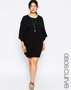 Plus size dress by ASOS CURVE Soft-touch jersey Round neckline Kimono style cropped sleeves Relaxed fit Machine wash Viscose, Elastane Our model wears a UK 14 and is 178 tall Plus Size T Shirts, Fat Fashion, Curvy Fashion, Fashion Online, Plus Size Gowns, Plus Size Outfits, Plus Size Fashion For Women, Plus Size Women, Plus Size Dresses