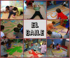 """Keith Haring en un aula de Infantil. En esta clase han hecho su propio cuadro """"El Baile"""". Algunos alumnos se tumbaron en papel continuo y el resto de compañeros copiaban la silueta, después lo colorearon con pincel y témperas."""