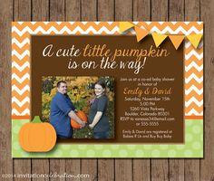 Little Pumpkin Fall Baby Shower Invitation  by InvitationCeleb  #pumpkin #baby #shower #chevron