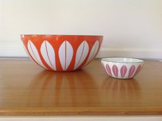 CathrineHolm Lotus Orange Enamel Bowl 9.5 by TheWelcomeTable, $75.00 #cathrineholm