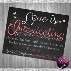 Bar Table Sign for Wedding Printable File by WhimsicalStationary, $12.00